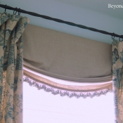 28-Navy & Flax Floral Window Treatments