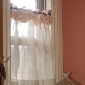 20-Sheer Cafe Curtain with Ribbon Fringe