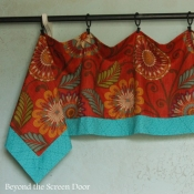 24-Turquoise & Orange Handkerchief Valance