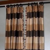43-Silk Plaid Panels with lead edge trim