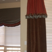 37-Long Brown Chenille Panels paired with Red & Turquoise