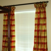 47-Silk Plaid Poof Top Curtains