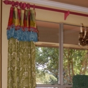54-Green Damask Panels with an attached valance