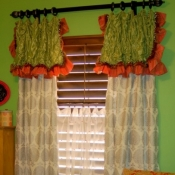 51-Silver Damask Panels with Attached Valance