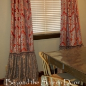 53-Pink Damask Panels with a Gathered Silver Skirt