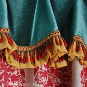 14-Red Damask Cafe Curtain with Velvet Cuff, Ruffle & Beaded Trim .JPG
