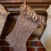 21-Damask Stocking with Ribbon Fringe