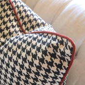 51-Houndstooth Pillow with Red Cording