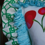 52-Ribbon Trim and Ruffle Pillow