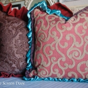 16E-Brown Damask and Cinnamon Swirl Pillows