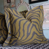 23E-Gray & Green Zebra Pillow