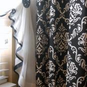 13-Ribbon Trimmed Sheer Bathroom Curtain