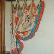10-Turquoise, Orange and Green Floral Curtain