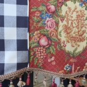 14-Black Check & Floral Valance Cording Detail