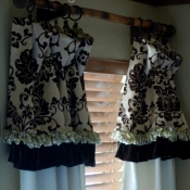 13-Brown Damask Valance with Long Panels