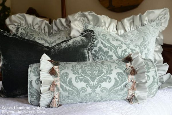 Ruffled Aqua Damask Pillows plus 3 Gathering Techniques