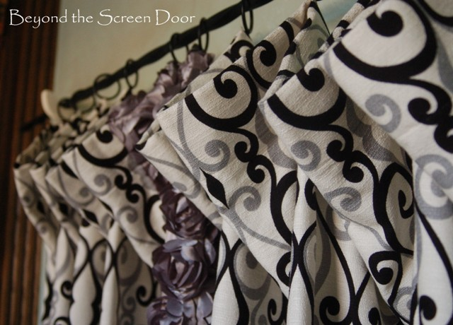 Black Gray Swirl Curtains