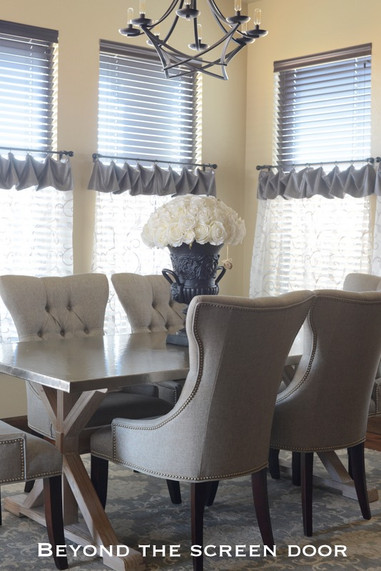 Cafe Curtains For A Breakfast Room With Six Windows