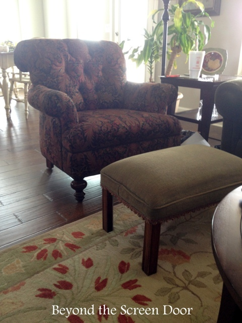 Before & After Reupholstered Chair and Pillows