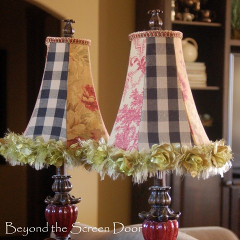 How to recover chandelier lamp shades · fabric covered lampshades