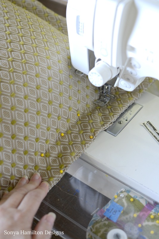 sewing the pillow cover closed