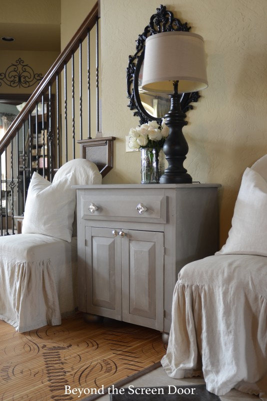 Gray Painted Chest Mecury Glass Knobs