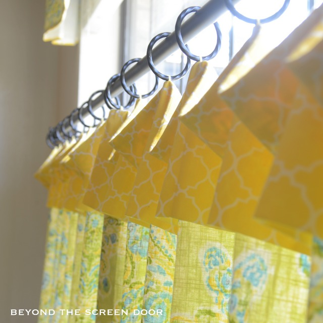 Lemon-Lime Kitchen Cafe Curtain, Valance and Roman Shade
