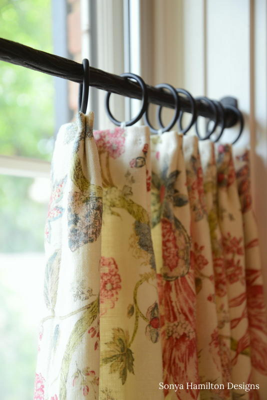 floral pleated cafe curtain