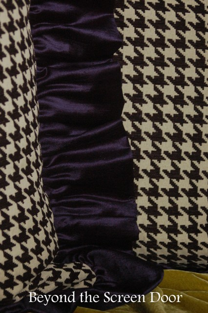 Blue Velvet and Houndstooth Pillows