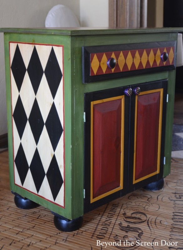 Painted Chest with Harlequin Pattern