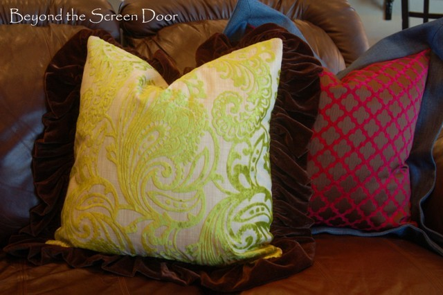 Kitchen Curtains and Pillows {Raspberry, Teal and Chocolate Velvet}