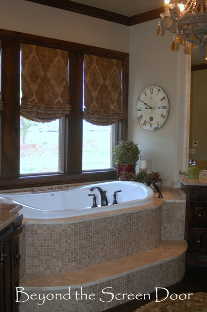 Master Bathroom and Motorized Roman Shades