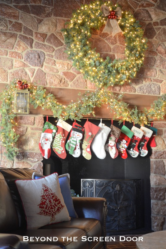 Rustic Fireplace & Stockings