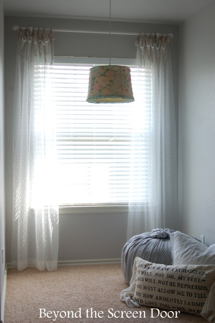 $7 Ribbon Tied Sheer Curtains for the Guest Bedroom