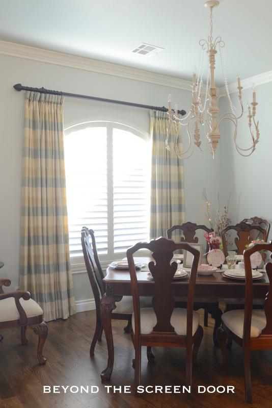 Silk Plaid Goblet Pleat Dining Room Panels