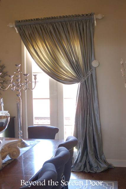 Silk Window Treatments with Painted Hardware