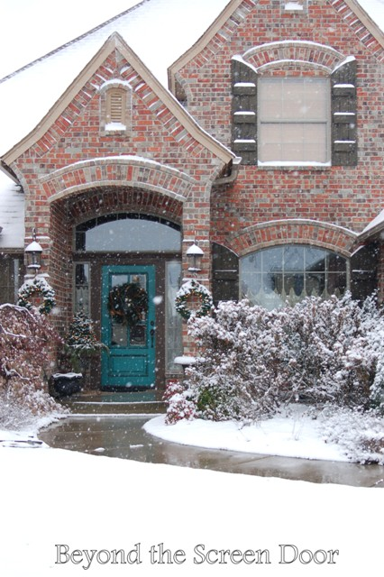 Turquoise Front Door Winter