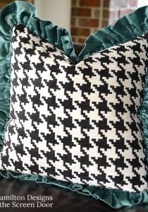 Ruffled Houndstooth Pillow