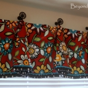 10-Red Floral Bell Valance