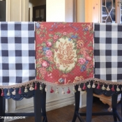 23-Black Check & Red Floral Valance