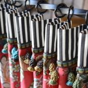 50-Floral & Black Stripe Cafe Curtain