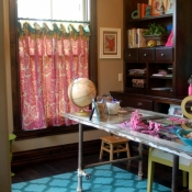29-Pink & Turquoise Office Curtains