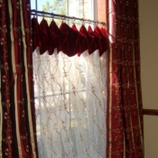 12-Sheer Cafe Curtains with Velvet Cuff