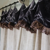 15-Cafe Curtain with Velvet Cuff and Trim