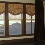 36-Brown Velvet Panels with Loose Fold Roman Shades
