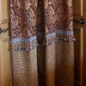 44-Chocolate & Blue Shower Curtain.