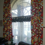 58-Red Floral Panels with Black Dot Cuff Cafe Curtains