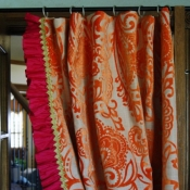 70-Orange Paisley Ruffled Curtain