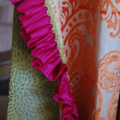 14-Orange Paisley Ruffled Curtain