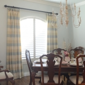 19-Silk Plaid Goblet Pleat Dining Room Panels